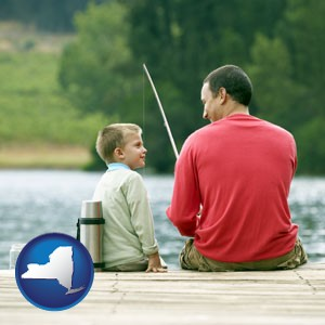 a father and a son fishing - with New York icon