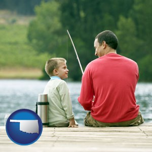 a father and a son fishing - with Oklahoma icon
