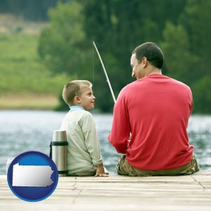 a father and a son fishing - with Pennsylvania icon