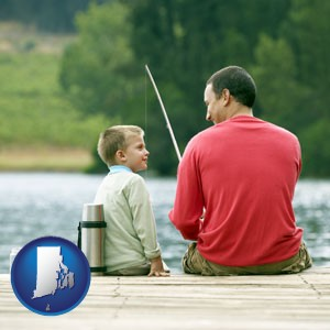 a father and a son fishing - with Rhode Island icon