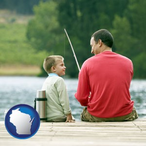 a father and a son fishing - with Wisconsin icon