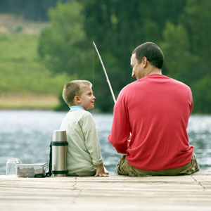 a father and a son fishing